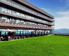 Создание газона на крыше отеля Ахальм в Германии