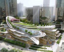 В Китае строится зеленая кровля с искусственным снежным склоном