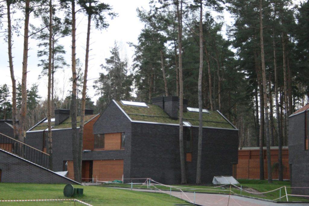 зеленая кровля на небольшом доме